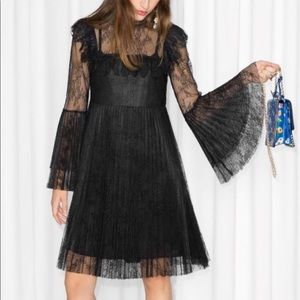 &otherstories lace pleated dress size 4